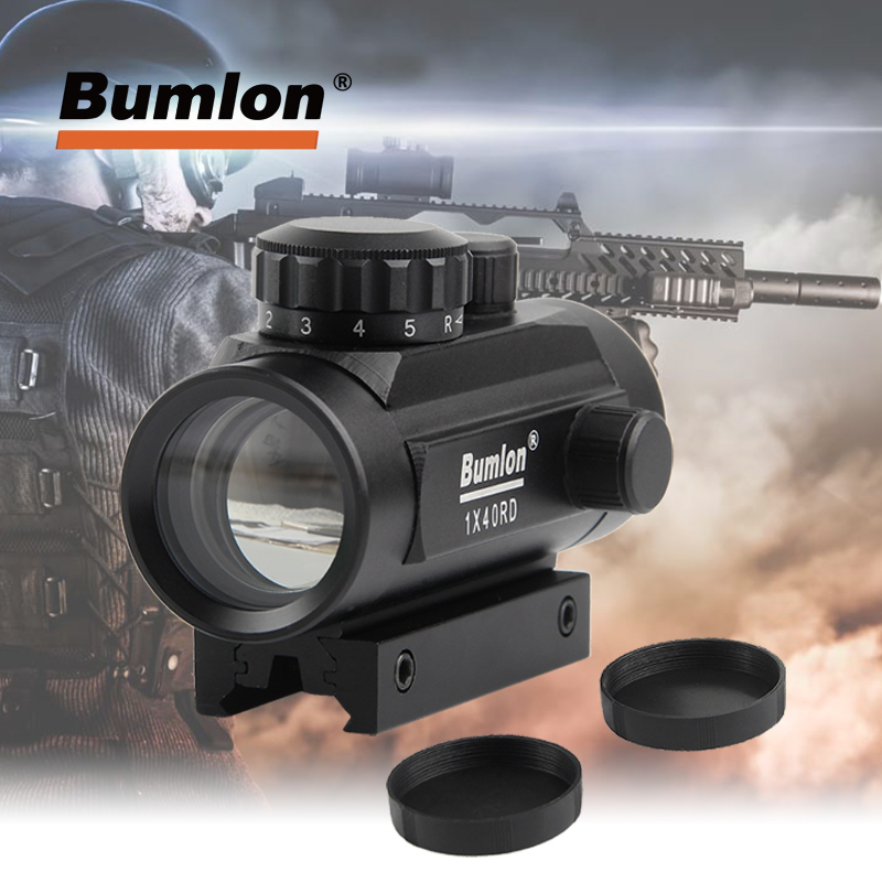 1 X 40 Red Dot Sight Airsoft Red Green Dot Sight Scope Hunting Scope 11mm 20mm Rail Mount Collimator Sight HT5-0013