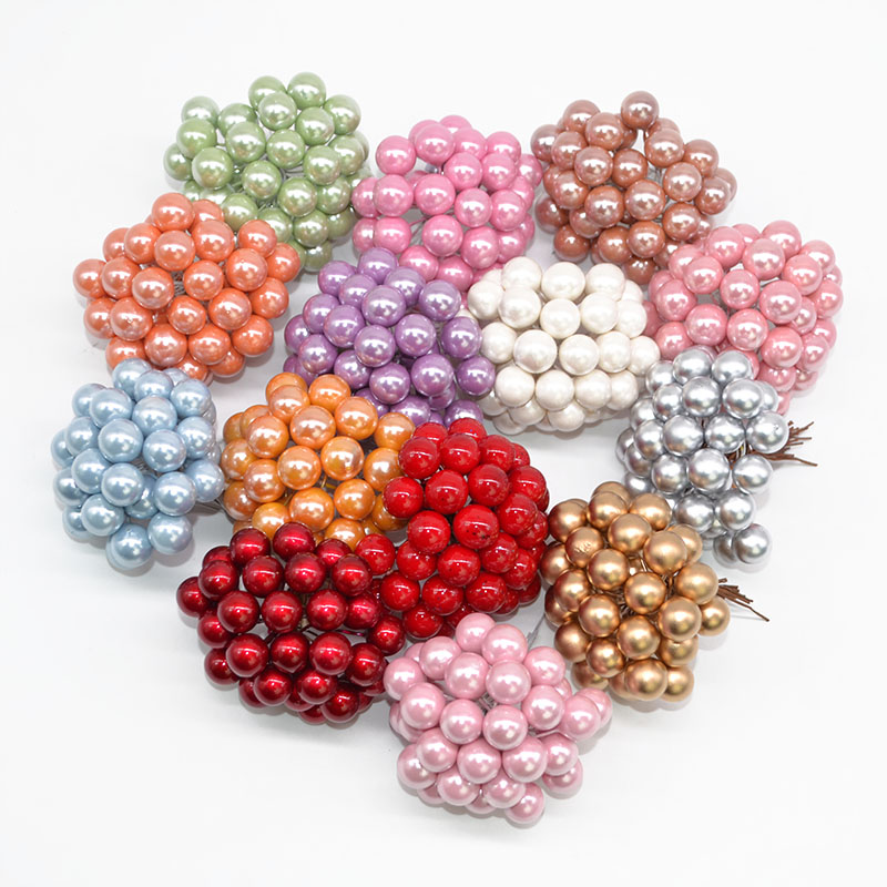 50pcs Mini Berries Plastic Fake Fruit Small Artificial Pearl Flower Stamens Cherry Wedding DIY Gift Box Decorated Xmas Wreaths