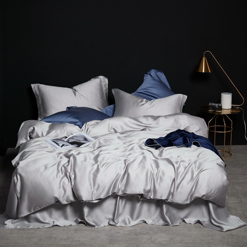 Silver Grey Color Premium Tencel Silk Bedding Set Luxury Queen King Size Summer Duvet Cover Bed Sheet Set Breathable Ultra Soft