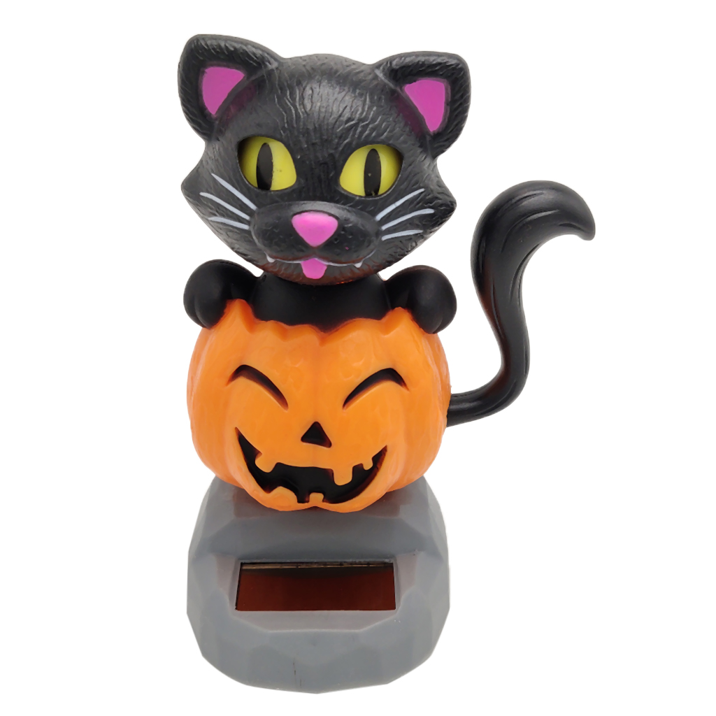 Cartoon Solar Powered Dancing Pumpkin Cat Swing Figure Model Toy Dashboard Car Desk Decoration
