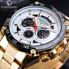цена Forsining Luxury Mens Golden Watches Automatic Multifunction Waterproof Date Calendar Sports Steel Strap Mechanical Wrist Watch онлайн в 2017 году