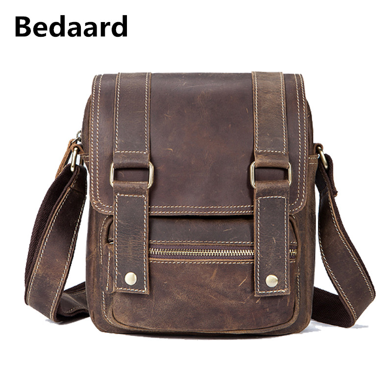 Bedaard Male Single Straps Business Male Briefcase Crossboy Bags Versatile Shoulder Bags For Men Real Cow Leather Messenger Bags
