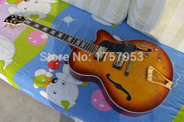 Factory custom shop 2017 New L-5 L5 Jazz guitar F -Semi Hollow sunburst color Electric guitar in stock free shipping (HAI 4