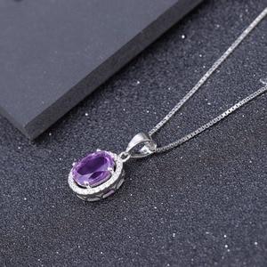Image 2 - GEMS BALLET collar con colgante de piedras preciosas de amatista Natural para mujer, de plata de ley 925, joyería fina de piedra de nacimiento, 1.79Ct, boda