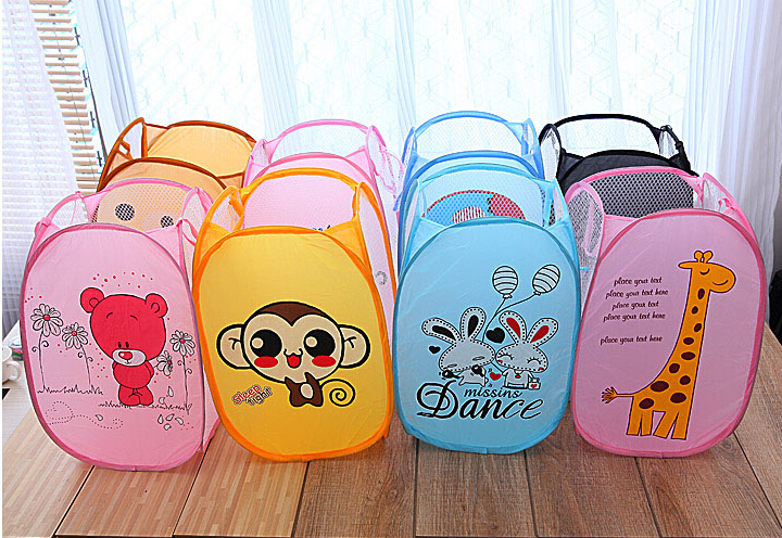 Cartoon Foldable Pop Up Hamper Collapsible Ventilation Laundry Basket Or Toy Chest For Storage Portable Mesh Laundry Hamper