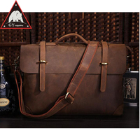 ANAPH Crazy Horse Men's Leather Briefcases, College Satchels Attached 15 Inch Laptop Case, Vintage Messenger Bags, In Brown
