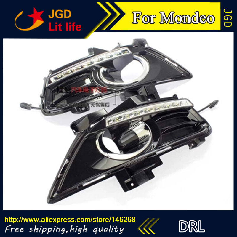 Free shipping ! 12V 6000k LED DRL Daytime running light for Ford Mondeo 2013-2015 fog lamp frame Fog light купить недорого в Москве