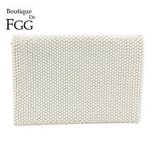 Boutique De FGG White Beaded Women Fashion Envelope Clutch Bag Handbags Wedding Dinner Bridal Beading Evening Clutches Purse недорого