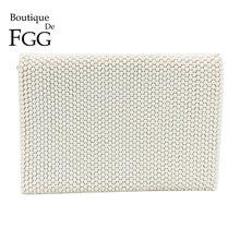 купить Boutique De FGG White Beaded Women Fashion Envelope Clutch Bag Handbags Wedding Dinner Bridal Beading Evening Clutches Purse дешево