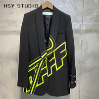 【HSY Studio】 2019 autumn new fashion women shawl lapel blazer jacket with functional pockets in letter print and slim fit