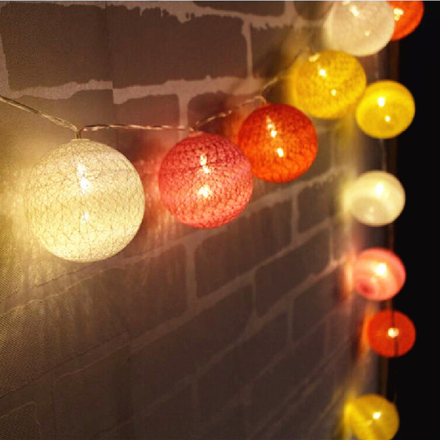 Orange color series handmade cotton balls fairy string lights wall orange color series handmade cotton balls fairy string lights wall decor party wedding battery operated bedside aloadofball Choice Image