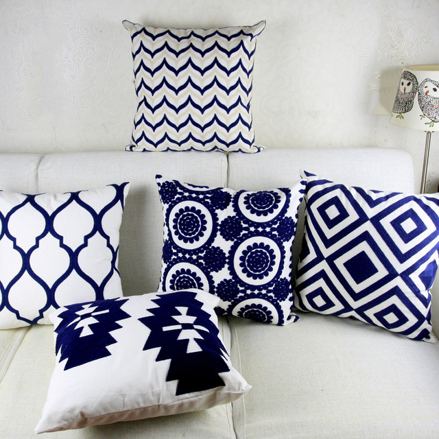 Navy Blue Embroidery Cushion Cover Geometric Moroccan Pillow Case With Embroidered For Sofa Seat Simple Home Decor 45 45cm