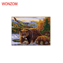 Bears Watching Each Other In Deep Feelings picture on wall acrylic painting by numbers unique cool gift coloring oil paintings