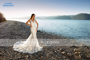 Image 2 - Romantic Chapel Train Mermaid Wedding Dress 2019 V neck Beading Beach Lace Bride Dress Vestige De Noiva