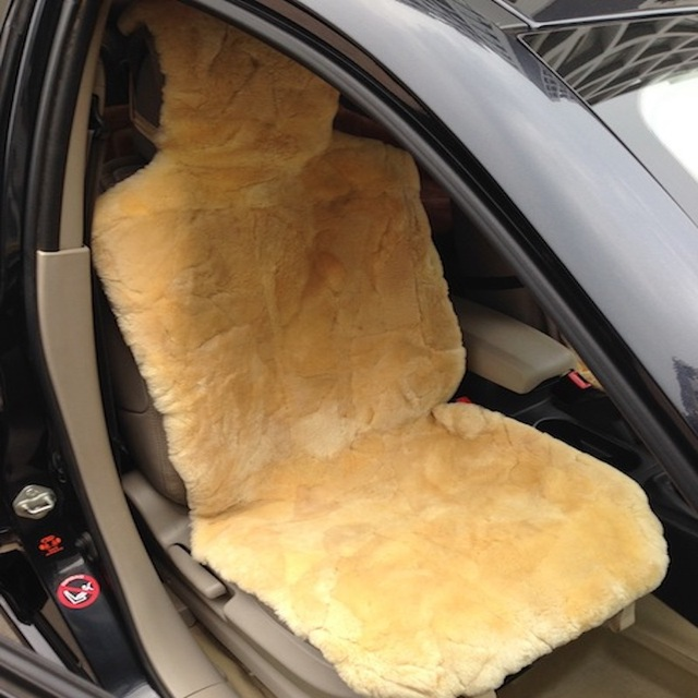 Free Shipping 2pcs Patch Work Genuine Sheepsin Car Seat Cover Yellow