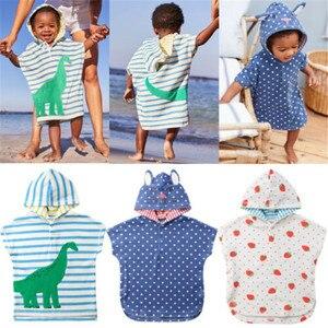 Baby Infant Toddler Soft Cartoon Cute Dinosaur Hooded Towel Girl Boy Swim Beach Bath Wear Kids Bathrobe 1-6Y