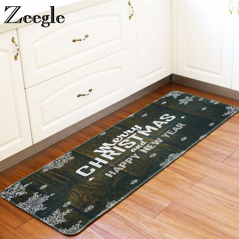 Us 14 76 44 Off Zeegle Christmas Decor Kitchen Mat 60x170cm Bathroom Carpet Non Slip Carpet For Living Room Mats Bedroom Bedside Rugs Floor Mat In
