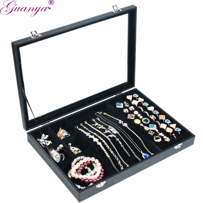 Guanya rings Jewelry Packaging & Display jewelry box glass cover bracelet storage box necklace earrings jewelry holder rack цена
