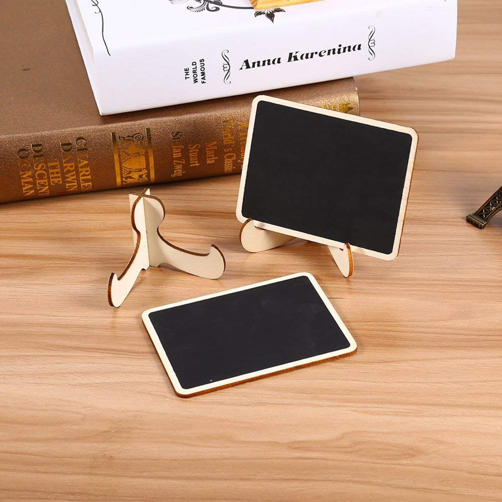 Mini Small Wooden Chalk 10pcs Blackboard Retangle Wedding Restaurant Signs Blackboard Clip Tag Party Decor School Supplies