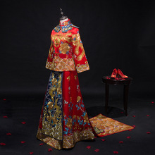 Sumptuous chinese style wedding dress Red Black Retro bride Toast wedding Festive dress formal cheongsam vintage long-sleeve