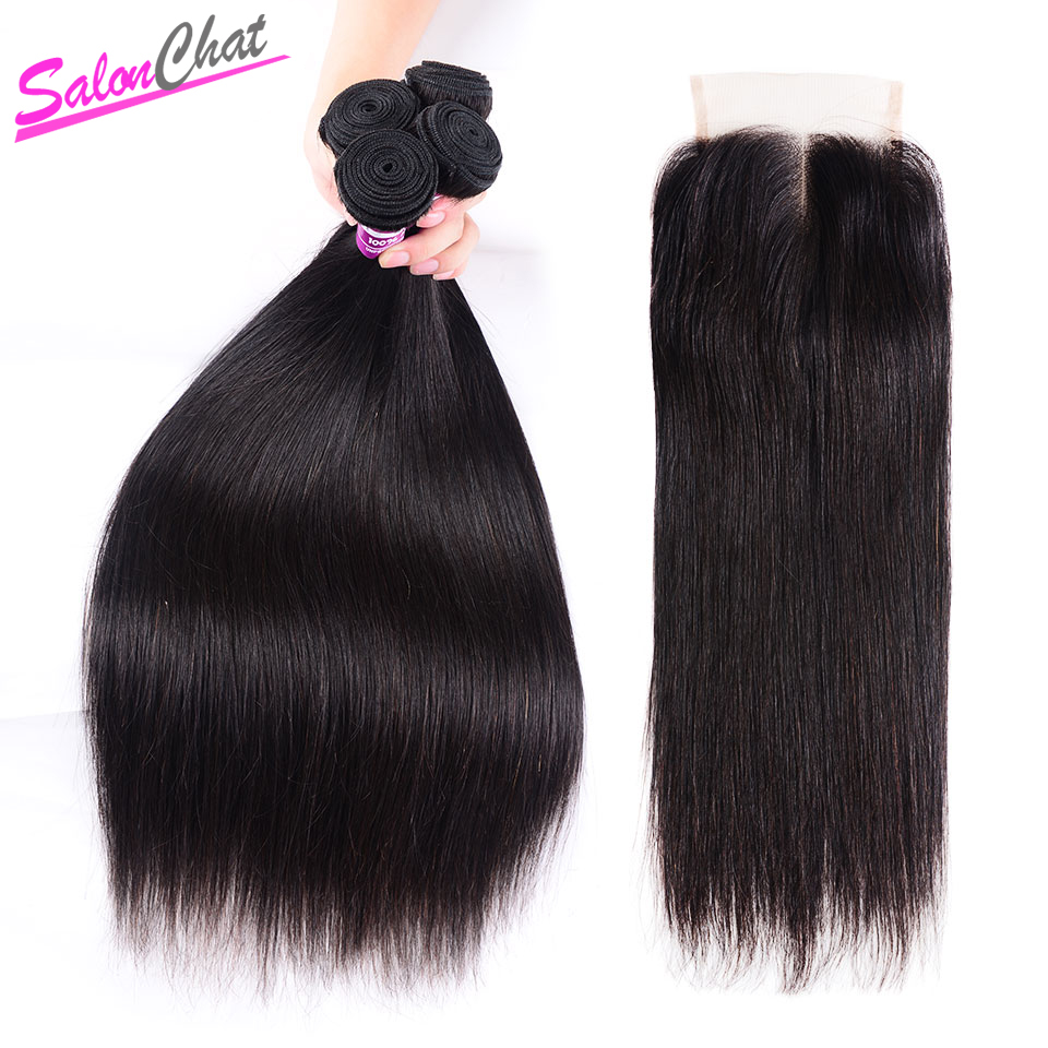 SalonChat Remy Human Hair Brazilian Straight Hair 18 20 22 24 Bundles With 16 Inches Lace Closure Natural Color Hair in 3 4 Bundles with Closure from Hair Extensions Wigs