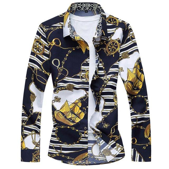 М-7XL 2017 новый стиль с длинным рукавом рубашки мужчины цветочный рубашка мужчины slim fit brand clothing гавайские рубашки мужчины социальный рубашка BA01