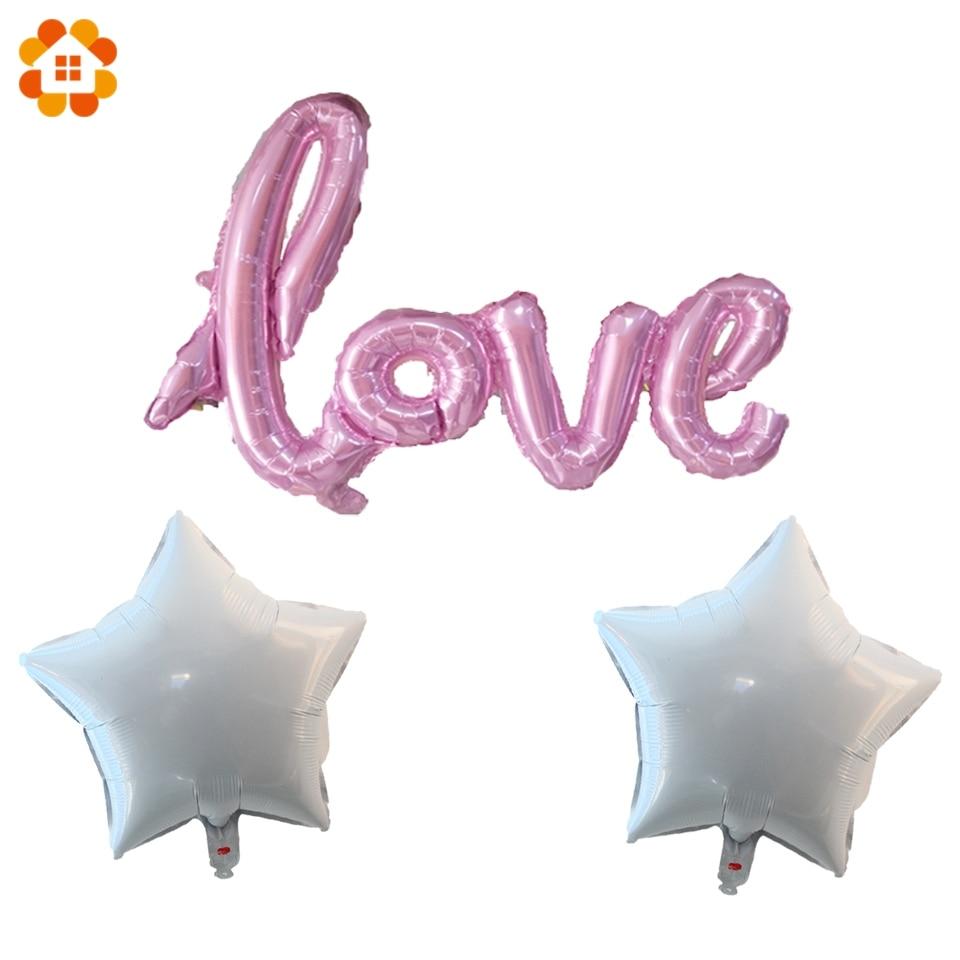 DIY Love Balloons Star Garland Foil White&Silver Star Balloon ...