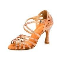 Modern Satin Rhinestone Latin dance shoes Professional Ballroom Soft Sole Dancing Shoes for Women Girls Ladies Heel 7.5/9cm A147