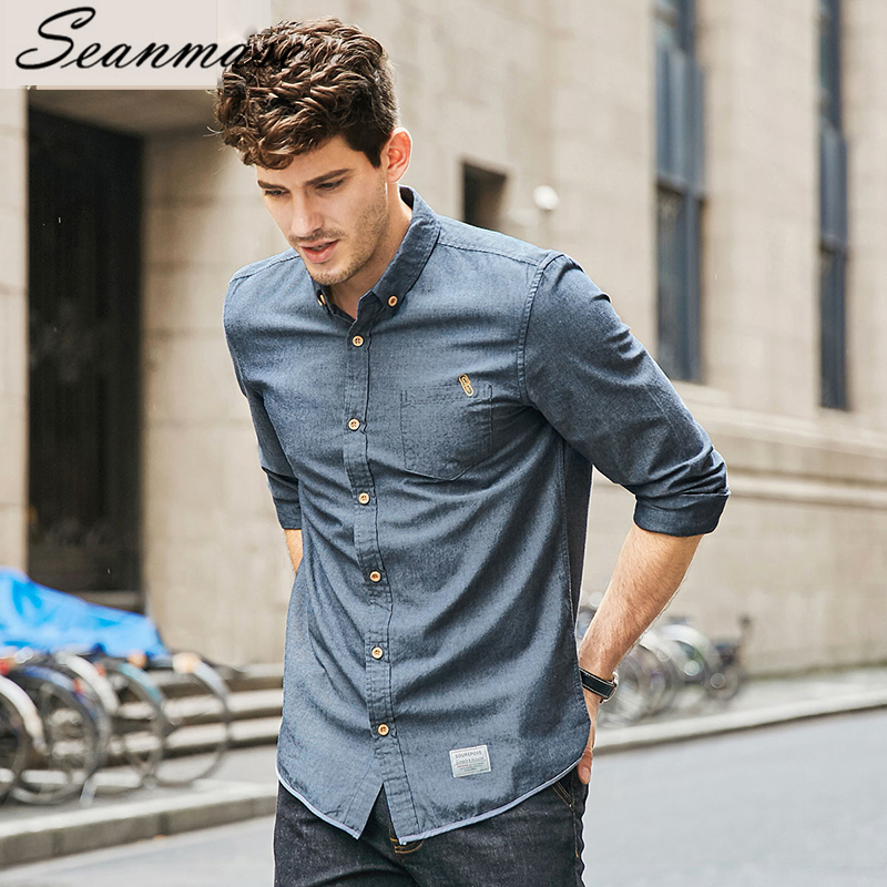 Seanmase 2019 Winter Men's Shirt Youth Leisure 100% Cotton High Quality Men Clothes Non-ironing Long sleeve Shirts  ZZ037