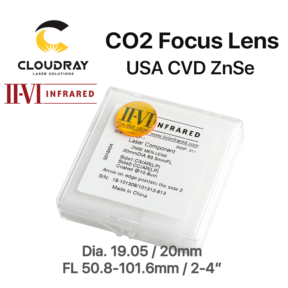 Cloudray II-VI ZnSe Focus Lens DIa. 19.05mm 20mm FL 50.8-101.6mm 2-4 for CO2 Laser Engraving Cutting Machine Free Shipping