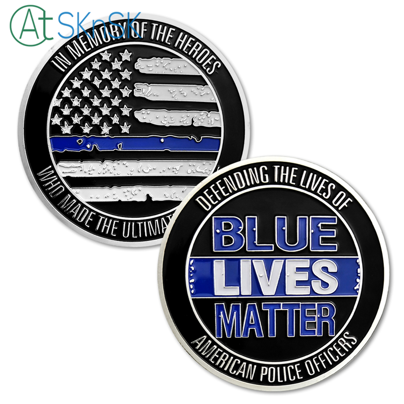 50pcs lot American US Flag Blue Lives Matter Challenge Coin Memory of the Heroes Silver Plated