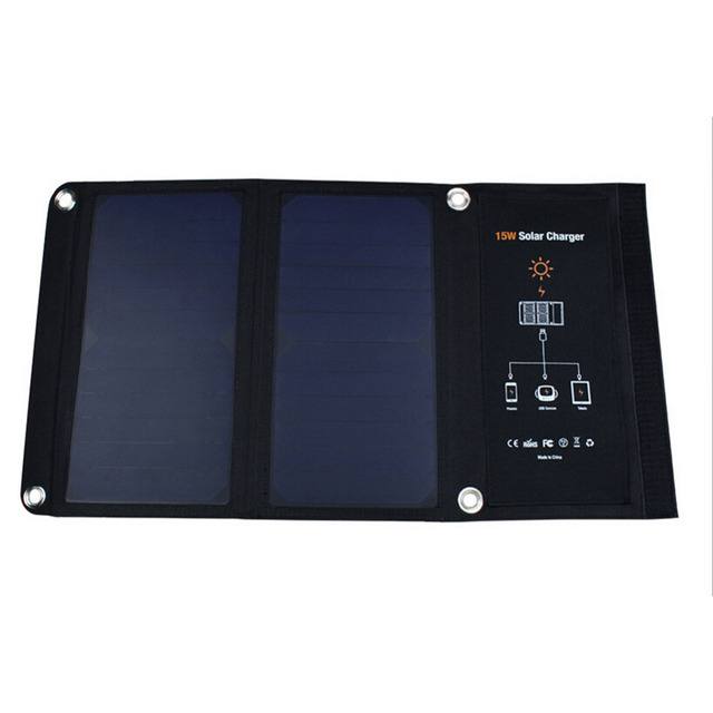 15W Foldable Solar Charger Portable Solar Panel Battery Dual USB Ports for iPhone 6 6S Plus for iPad mini Galaxy S6 Cell phones