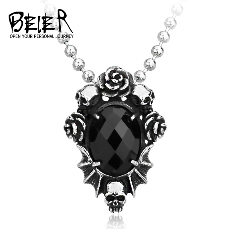 BEIER New store Fashion Men' Jewelry Wholesale Steel Skull Flower Necklace Pendant With Black Stone gift chain BP8-123 pd70f 160