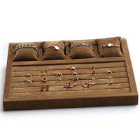 wood brown velvet 5 rings and 4 watch pillows storage trays wood 5 lines velvet ring display grids storage pillow trays GD2574