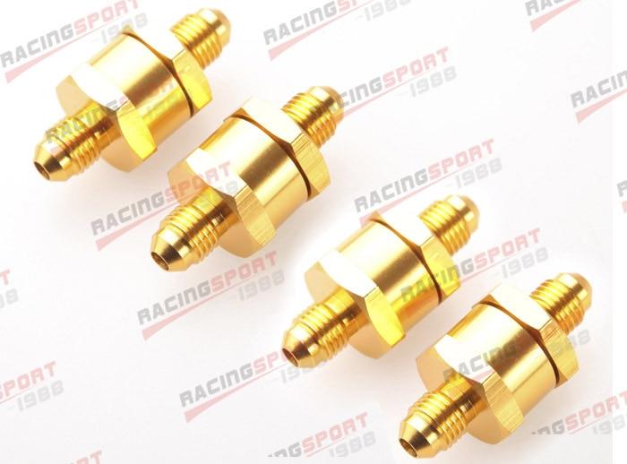 4 pièces 6AN Carburant Retour Un Clapet anti-Retour Essence Diesel D'alliage D'aluminium OWV-07-GOLDEN-4