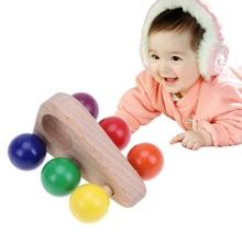 Children Kids Triangular Wooden Grasping font b Toy b font Push Pull Car Wood Developmental Baby