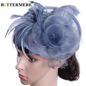 Image 3 - BUTTERMERE Fedora Hat Party Women Burgundy Hats Linen Wedding Lady Feather Flower Fascinator Pillbox Hat Bride Elegant Cap Black