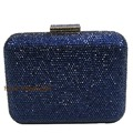 Luxury Navy Blue Evening Bags and Crystal Box Clutch for Women Party Evening Clutch Bags and Purses