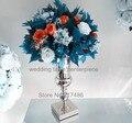 Alrededor de 30 días de enviado) plateado de metal vela titular de soporte central de la boda evento jarrón de flores para la boda del acontecimiento