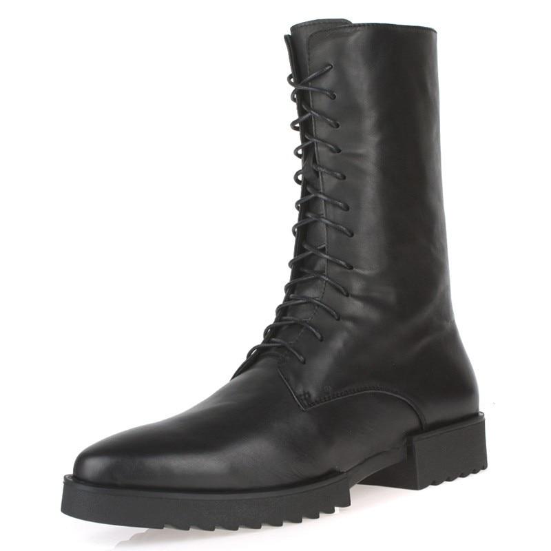 Heels Militärische Männlichen kalb Motorrad Mid Leder Sicherheit Med Stiefel Schuhe Black Winter Top Lace Reiten Runway Herren Echtem Up High 6wqWw1Raf
