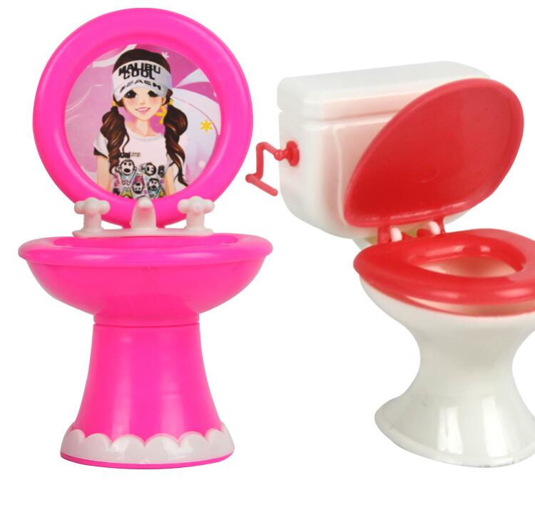 NK 2pcs/set 1 Closestool +1 Washbasin Toilet Wash Devices For Barbie Doll & Kelly Dolls House Furniture Doll Accessories.