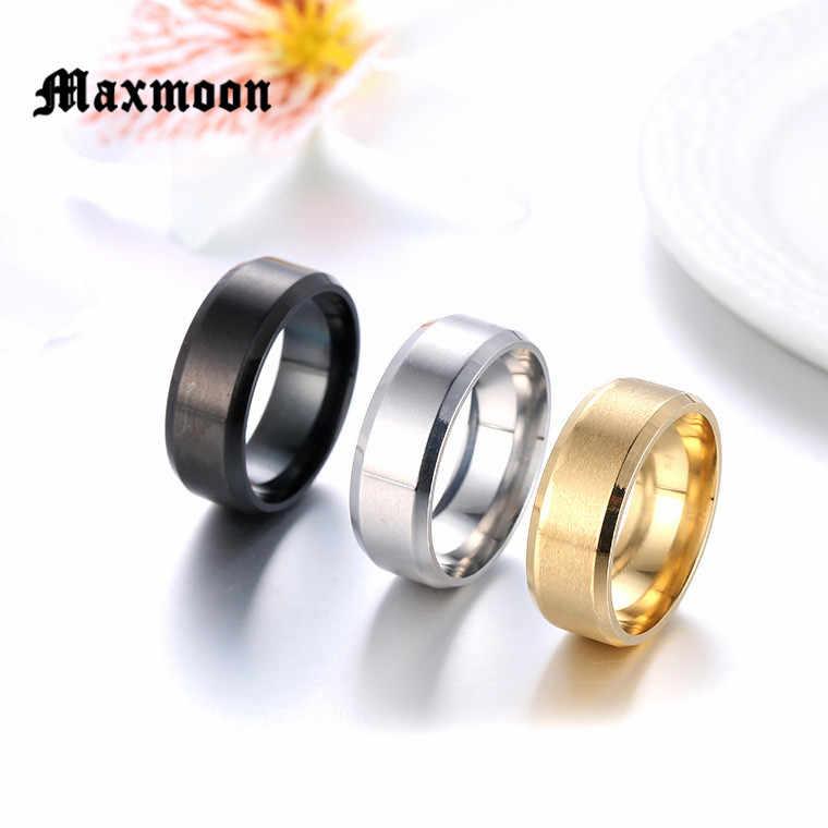 Maxmoon metal aço inoxidável anéis largos esportes masculinos simples cor prata jóias anel glod verão atacado negócio menino