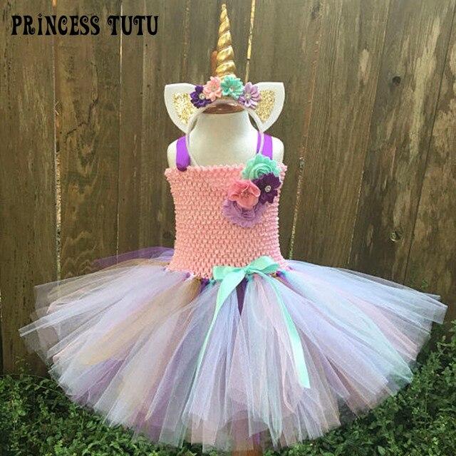 a878d19b7b81 Rainbow Bustle Unicorn Tutu Dress Girl Birthday Party Flowers Pony Cosplay Tutu  Dresses School Day Costume