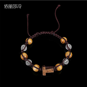 Beaded Handmade Braided Bracelet Rosary Bracelet, Brown Wooden Beads Beaded Bracelet, Jesus Cross Mercy Beaded Bracelet фото