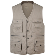 b Spring autumn new 100% Cotton Multi Pocket Vest Men Summer 2019 New Sleeveless Jacket Mens Photographer Baggy Waistcoat