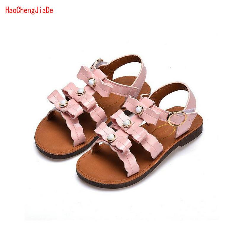 2018 New Summer Children Sandals Bowtie Flat Kids Shoes Girls Gladiator Princess Shoes for girl beach Sandal EU Size 26-30