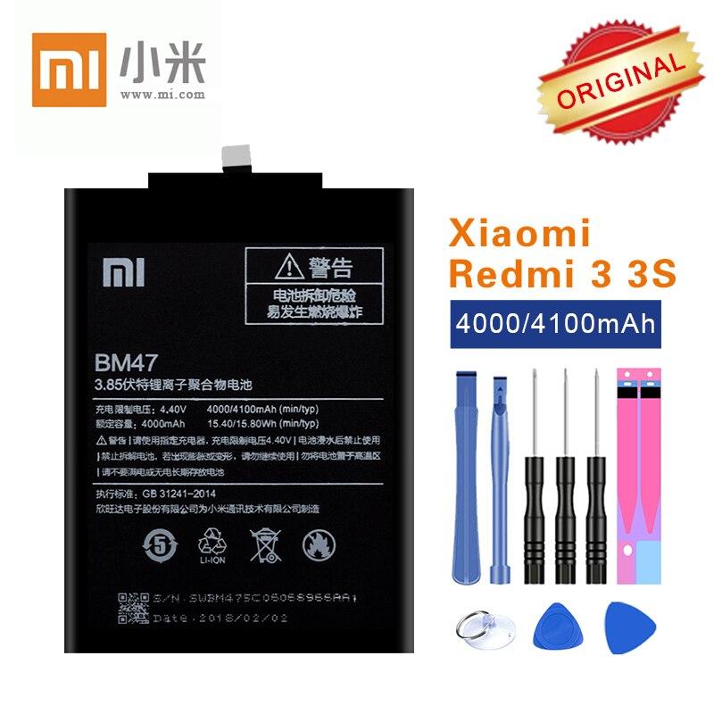 Original Xiao mi Bateria BM47 para Xiao mi mi Vermelho 3 3 S 3X3 Pro 4X Hong mi 3 S 4 X akku Li-ion 4000 mAh com Ferramentas de Reparo livre