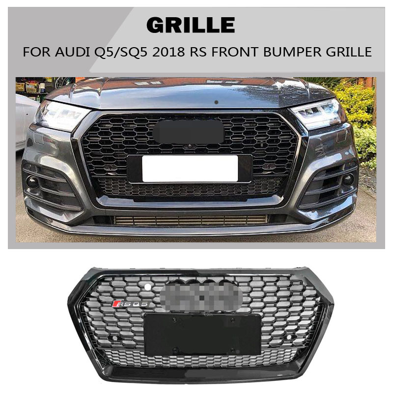 Q5 SQ5 Sline Grille black Emblem Front Bumper mesh Radiator Grille For Audi Q5 SQ5 2018 2019 RSQ5 golfliath sq5 style black painted chrome frame honeycomb mesh front grille for audi q5 2009 2012