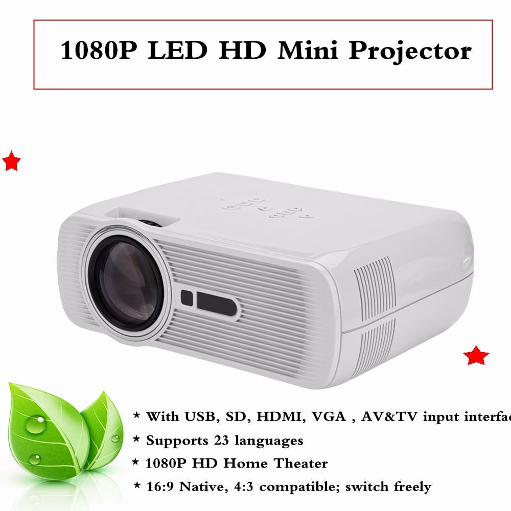 100-240V Mini Projector 1080P HD Home Theater with HDMI USB SD VGA AV TV Port White US Plug hx 100 mini led home projector w av vga sd usb hdmi remote control black eu plug
