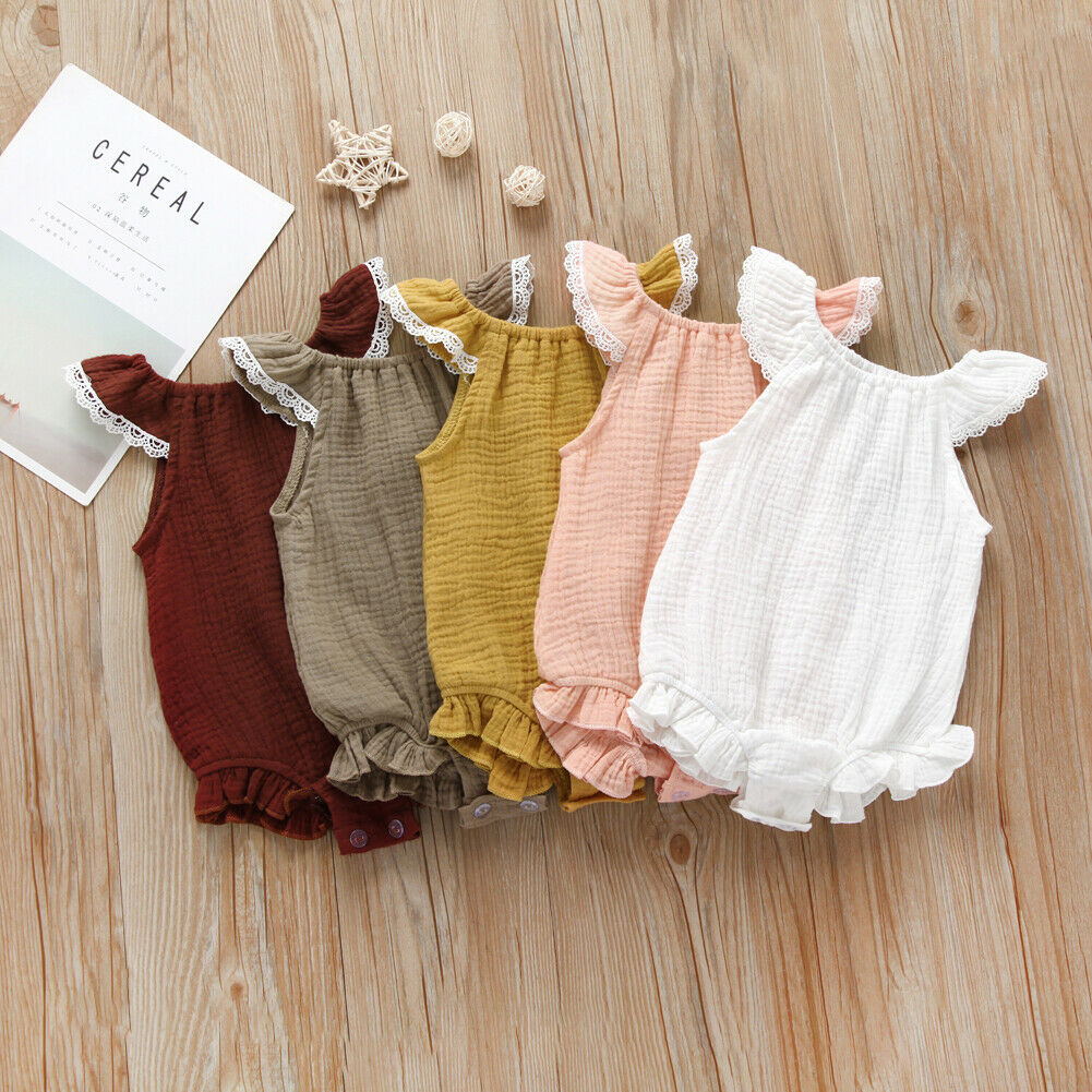 0-24M Newborn Kids Baby Girl Boy Clothes Lace Short Sleeve Summer Romper Elegant Plain Casual Sunsuit Cute Lovely Cotton Outfits(China)